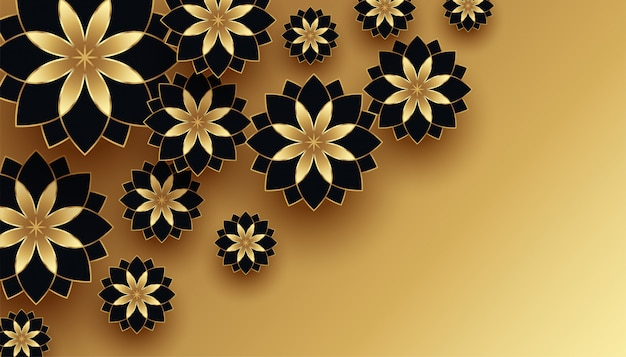 Fundo de decoração de flor 3d preto e dourado