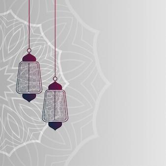 Fundo de decoração de lâmpadas islâmicas