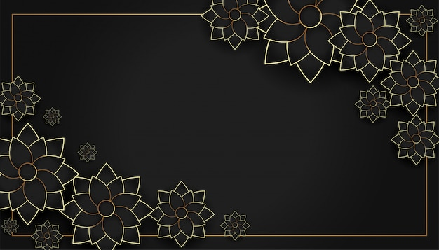 Fundo de decoração elegante flor preto e dourado