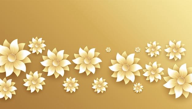 Fundo de decoração elegante flores douradas e brancas