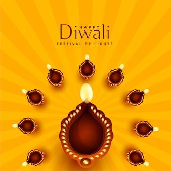 Fundo de decoração linda diwali diya
