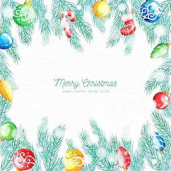 Fundo de decorações de natal em aquarela