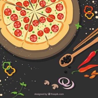 Fundo de deliciosa pizza com tomate