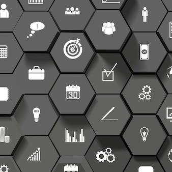 Fundo de desenho abstrato preto com ícones de negócios planos