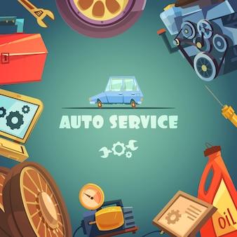 Fundo de desenho animado de auto serviço