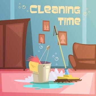 Fundo de desenho animado de serviço de limpeza