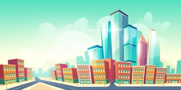 Fundo de desenho animado futuro metrópole crescente com estrada perto de casas do distrito antigo da cidade, edifícios de arquitetura retrô