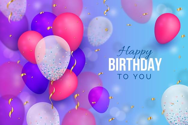 Fundo de desenho de feliz aniversário com balões realistas