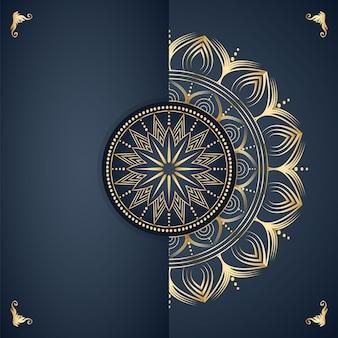 Fundo de desenho de mandala decorativa na cor dourada