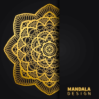 Fundo de desenho de mandala dourada. ornamento redondo étnico. motivo indiano de mão desenhada. impressão floral dourada original.