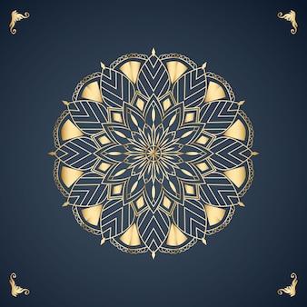 Fundo de desenho de mandala na cor dourada