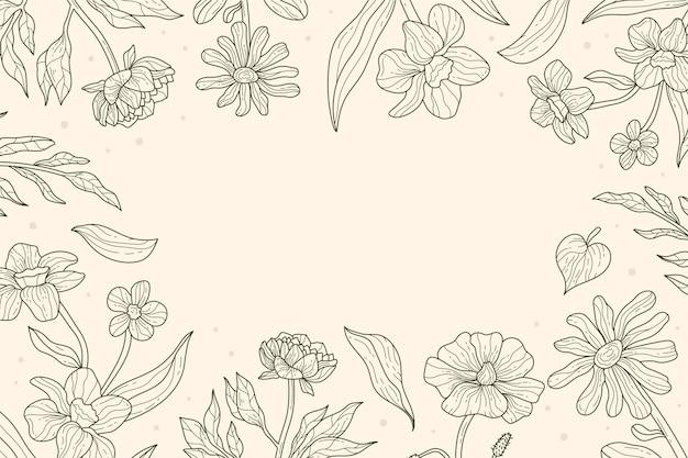 Fundo de desenho floral linear