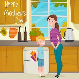 Fundo de desenhos animados de dia das mães