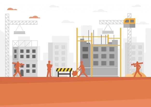 Fundo de desenhos animados de indústria de construção civil