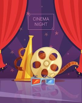 Fundo de desenhos animados de noite de cinema
