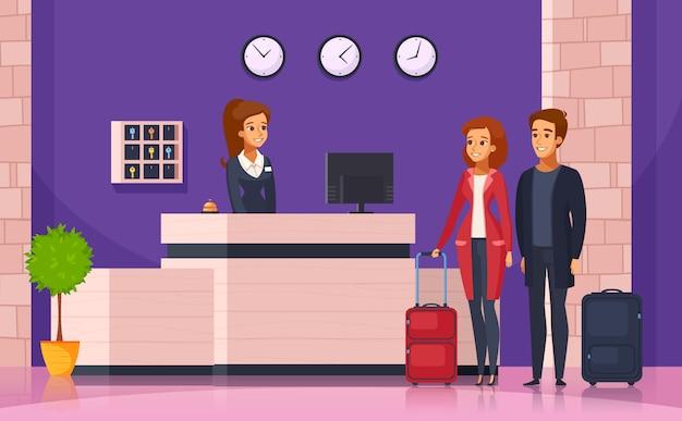 Fundo de desenhos animados de recepção de hotel