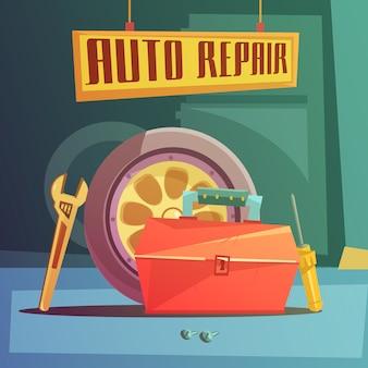 Fundo de desenhos animados de reparação auto