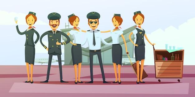 Fundo de desenhos animados de tripulação de avião