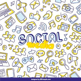 Fundo de desenhos de mídia social
