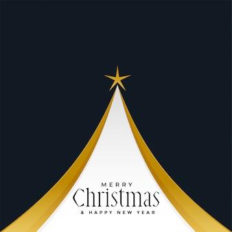 Fundo de design de árvore dourada feliz natal