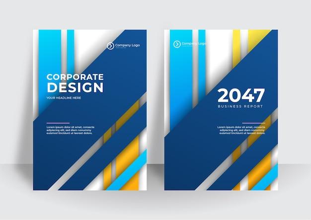 Fundo de design de capa corporativa moderno negócio amarelo azul. capas, modelos, cartazes, brochuras, banners, folhetos contemporâneos digitais azuis. design de tecnologia futurista minimalista abstrato