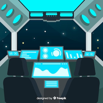 Fundo de design de espaçonave interior com deisgn plana