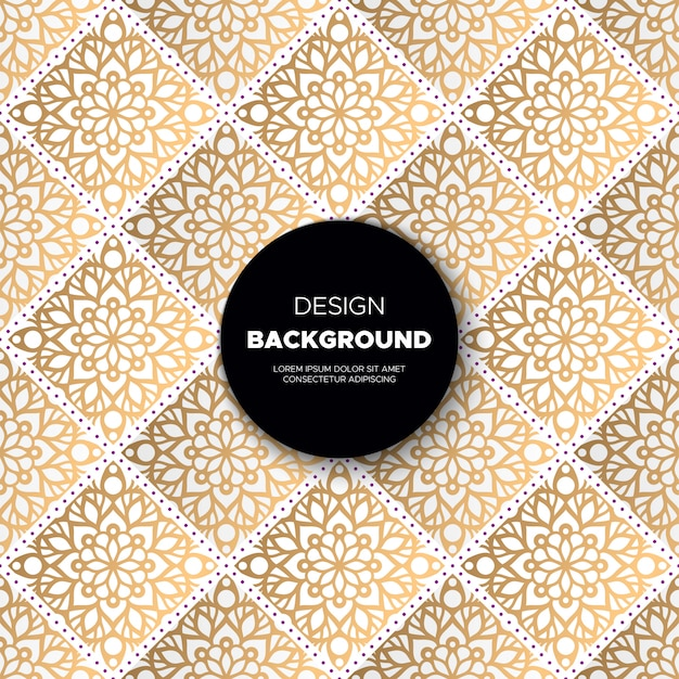 Fundo de design de luxo ornamental mandala na cor ouro