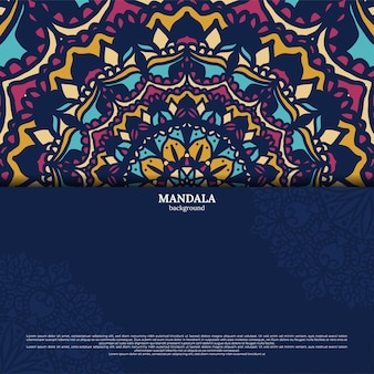 Fundo de design de mandala colorida ornamental luxuosa