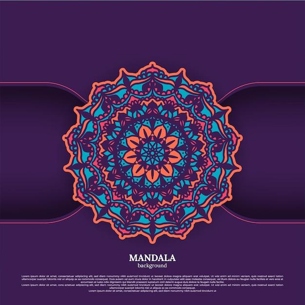 Fundo de design de mandala colorida ornamental luxuosa
