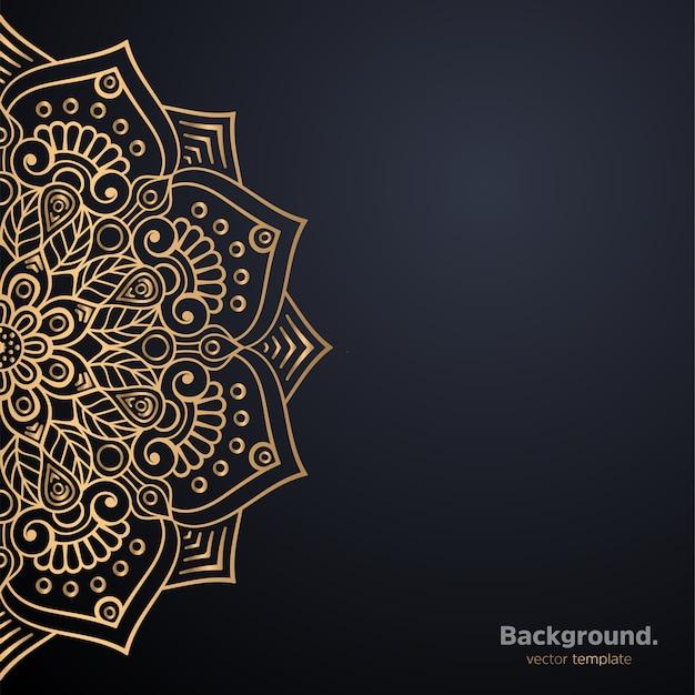 Fundo de design de mandala ornamental de luxo na cor ouro