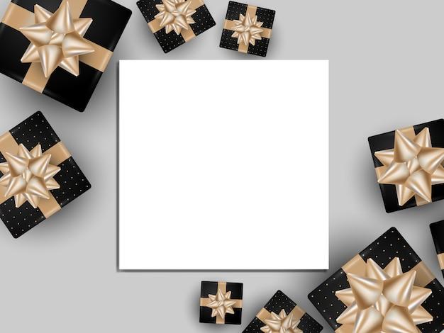 Fundo de design de modelo de banner de moldura branca com caixa de presente.