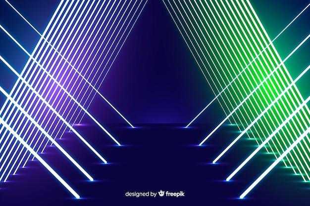 Fundo de design de palco de luzes de néon