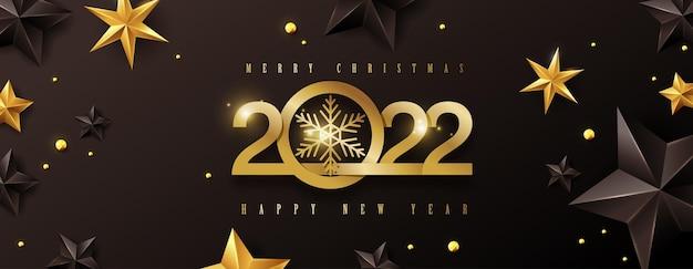 Fundo de design de texto feliz natal e feliz ano novo 2022 decorado com estrelas douradas e pretas