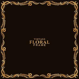 Fundo de design étnico com moldura floral dourada