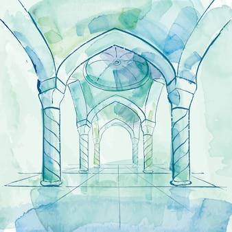 Fundo de design islâmico interior aquarela mesquita