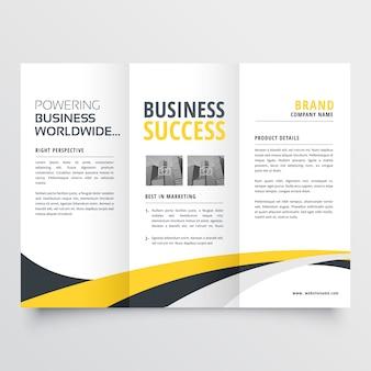 Fundo de design moderno abstrato ondulado com três dobras brochura