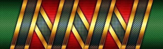 Fundo de design moderno verde vermelho com elementos de linhas douradas