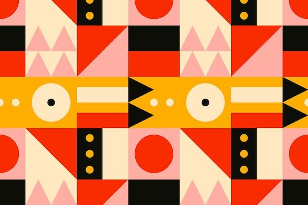 Fundo de design plano com padrão inspirado na bauhaus