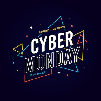 Fundo de design plano cyber segunda-feira