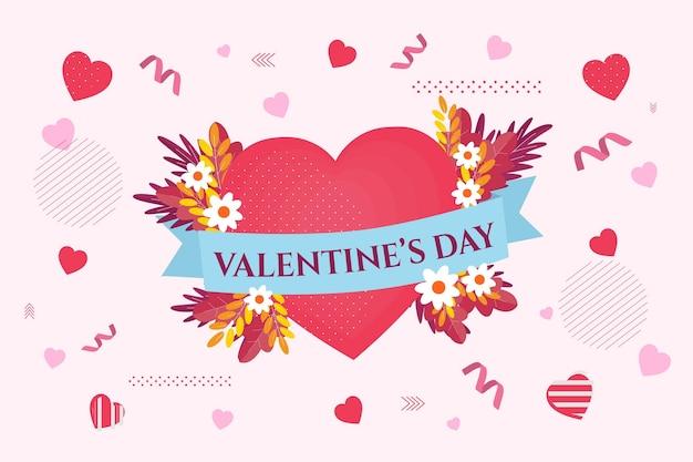 Fundo de design plano de dia dos namorados com corações e flores