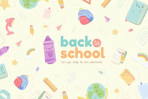 Fundo de design plano de volta às aulas