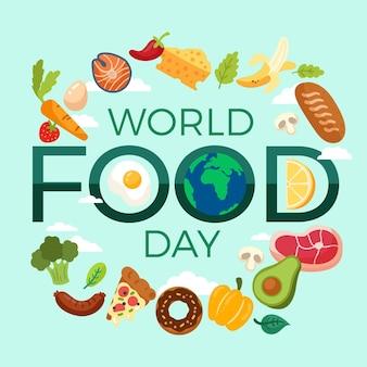 Fundo de design plano do dia mundial da alimentação com globo
