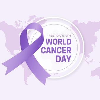 Fundo de design plano do dia mundial do câncer