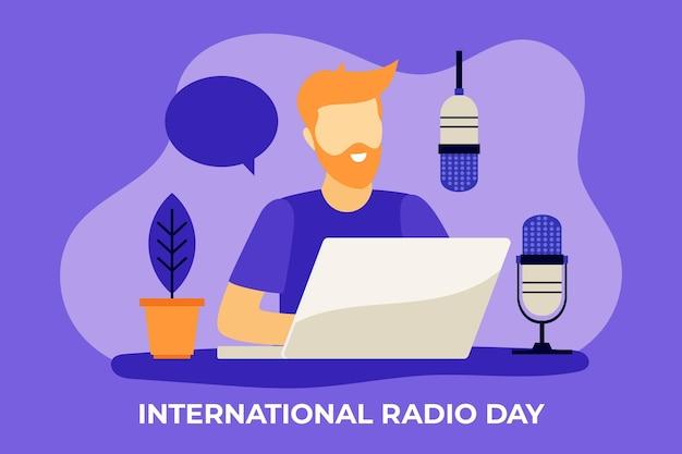 Fundo de design plano do dia mundial do rádio com homem