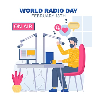 Fundo de design plano do dia mundial do rádio com masculino