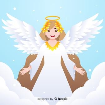 Fundo de detalhes dourados de anjo de natal