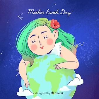 Fundo de dia aquarela terra mãe