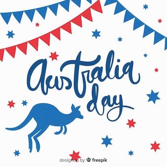 Fundo de dia da austrália com canguru