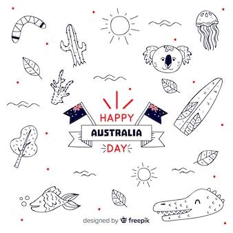 Fundo de dia da austrália com elementos de mão desenhada
