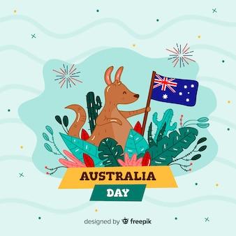 Fundo de dia da austrália de bom canguru com bandeira